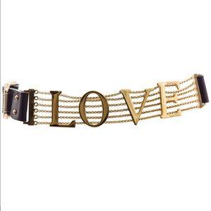 Dolce & Gabbana Love Black Leather Chain Belt